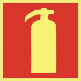 Brandskylt. Brandsläckare - u. text