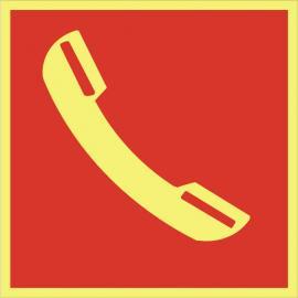 Brandskylt. Telefon