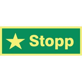 Anvisningsskylt. Stopp