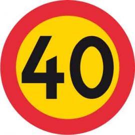 Förbudsskylt, Max hastighet 40 km/h, Ø 600 mm