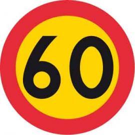 Förbudsskylt, Max hastighet 60 km/h, Ø 600 mm