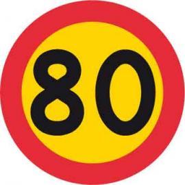 Förbudsskylt, Max hastighet 80 km/h, Ø 600 mm