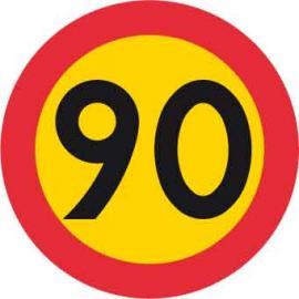 Förbudsskylt, Max hastighet 90 km/h, Ø 600 mm