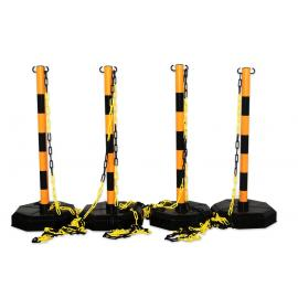 Avspärrningspaket -Robust-, 4st Plaststolpar inkl. 25m kedja (Gul/Svart)