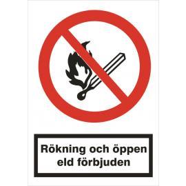 Förbudsskylt. Rökning och öppen eld förbjuden