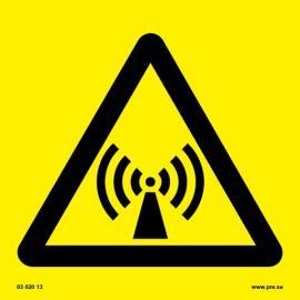 Varningsskylt. Icke joniserande strålning