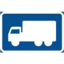 """Påbudsskylt, Påbjuden körning med Lastbil """"Vänster"""""""