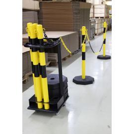 Avspärrningsstolpar med kedja inklusive transportvagn (25m)