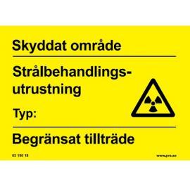 Varningsskylt. Utrustning Strålbehandling