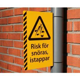 Varningsskylt, Snöras & Istappar - komplett med fäste